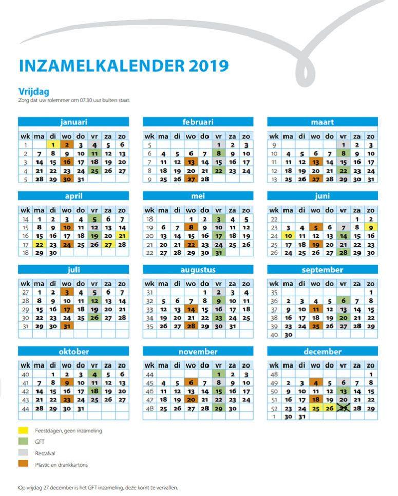 Afvalinzamelkalender Schouwen-Duiveland - 2019