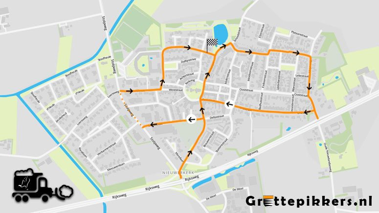 Strooiroute gladheidsbestrijding Nieuwerkerk