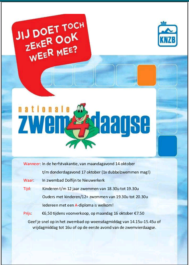 Flyer nationale zwemvierdaagse 2019