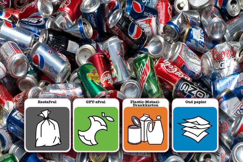 Blik bij plastic afval en drankkartons