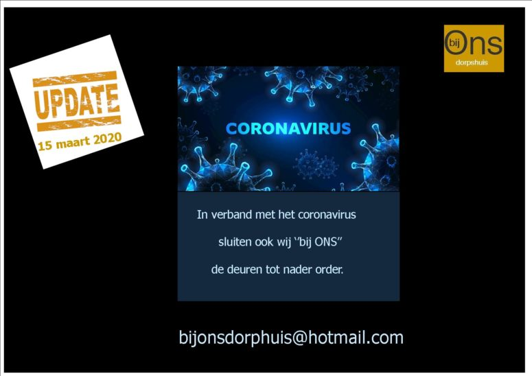 Bij Ons - sluiting vanwege coronavirus